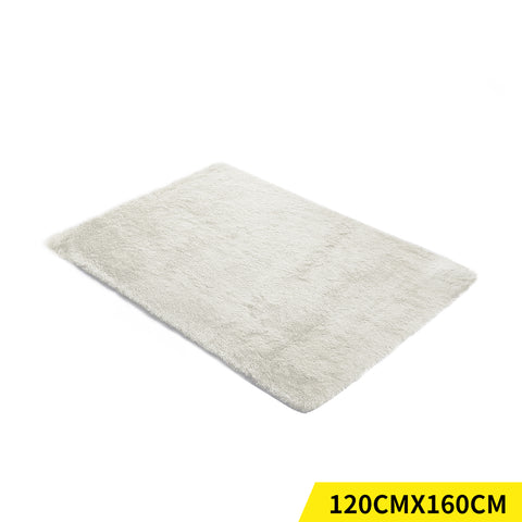 Designer Soft Shag Shaggy Floor Confetti Rug Carpet Home Decor 120x160cm Cream