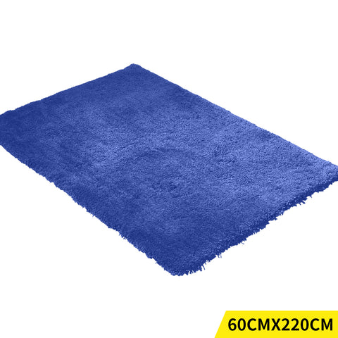 Ultra Soft Anti Slip Rectangle Plush Shaggy Floor Rug Carpet in Blue 60x220cm