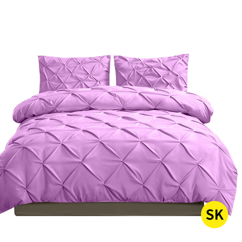DreamZ Diamond Pintuck Duvet Cover Pillow Case Set in Super King Size in Plum