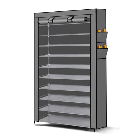 Levede 10 Tier Shoe Rack Portable Storage Cabinet Organiser Wardrobe Grey Cover