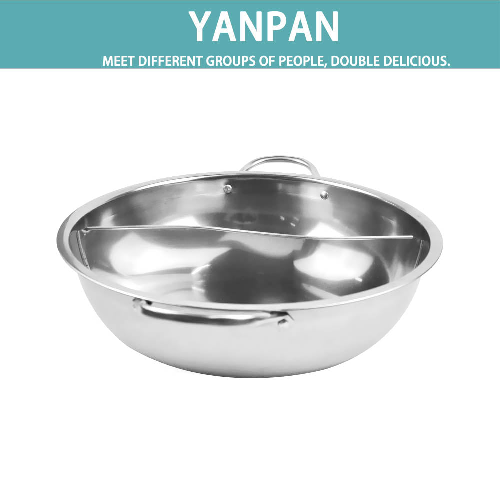 34cm Stainless Steel Twin Mandarin Duck Hot Pot Induction Cooker With Lid