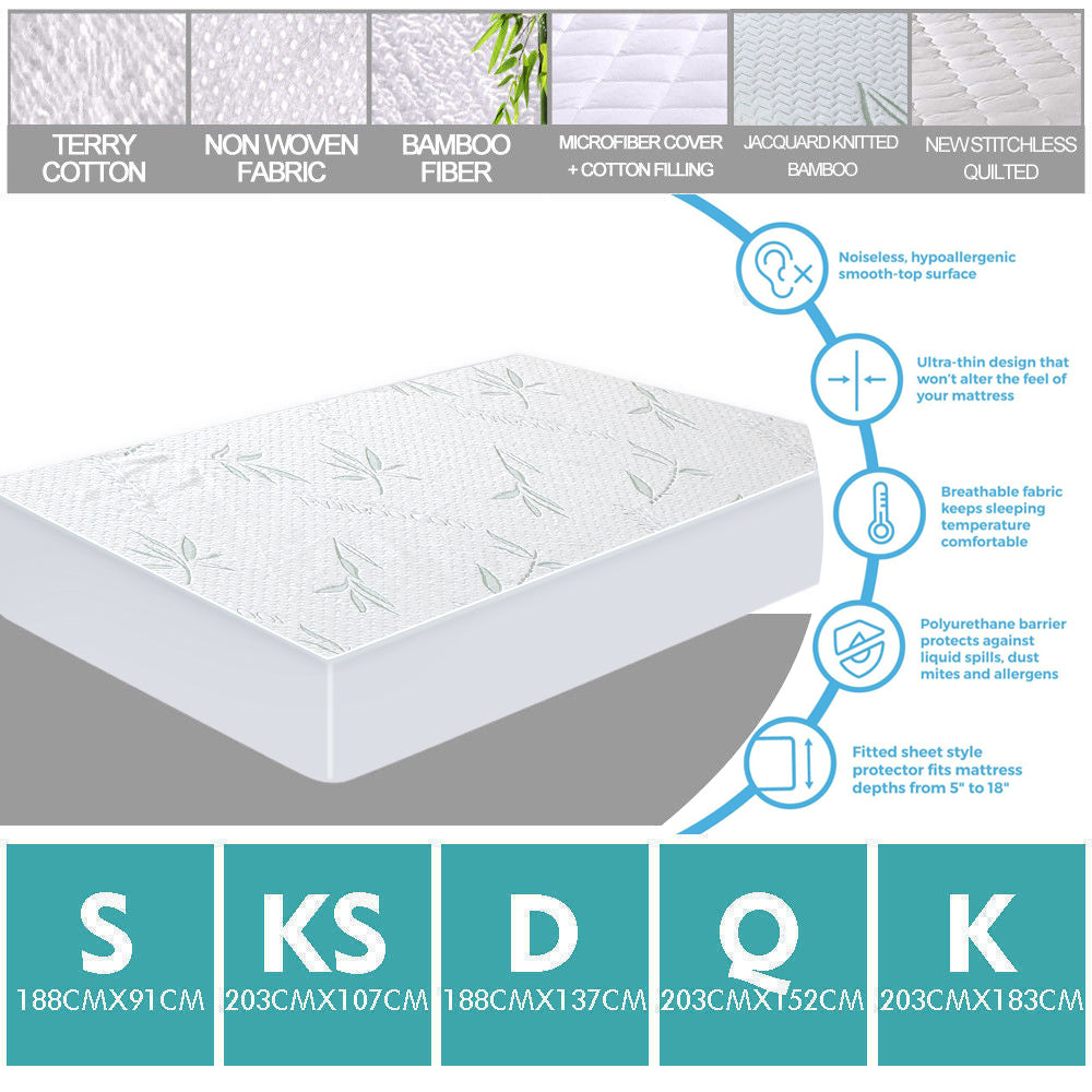 DreamZ Fitted Waterproof Bed Mattress Protectors Covers King Single