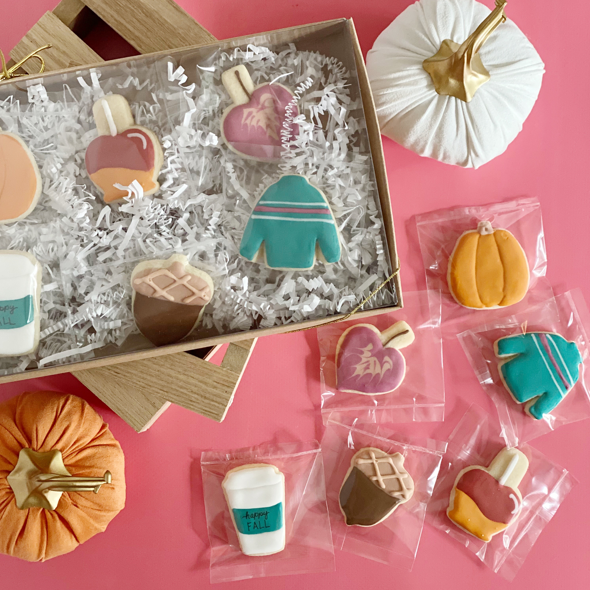 Fall Mini Cookie Gift Decorated Cookies Small Cookies Pumpkins Coffee Leaf Leaves Candy Apples Sweater Latte
