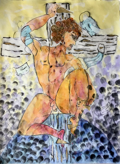pandemic figurative expressionism watercolour painting