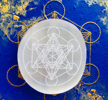 Load image into Gallery viewer, メタトロン キューブ セレナイト エナジー ベース (Φ8cmx1cm)Selenite charger metatron cube