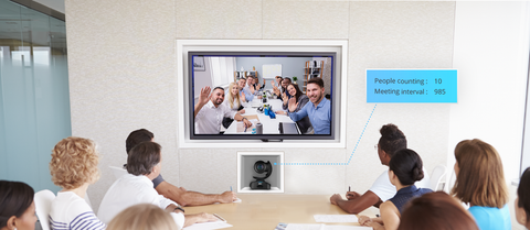 video conference meeting between two offices with a digital people count