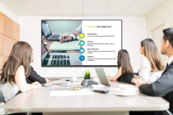 """Newline NT 85"""" LED Commercial Display being used in a video conference meeting with active participants"""