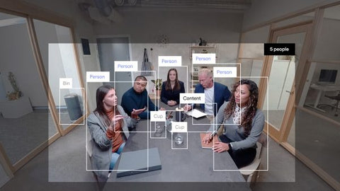 Huddly IQ AI-Powered USB Conference Camera auto-framing all the video conference room attendees