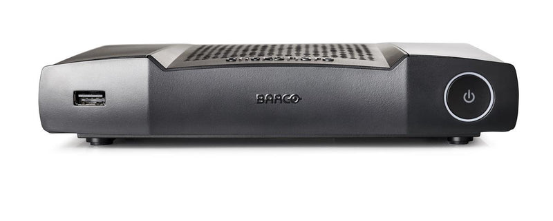 Barco ClickShare CX-50 Wireless Conferencing System front view showing power button and USB connection port