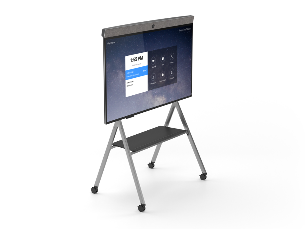 "Neat Board 65"" All-in-One Interactive Zoom Rooms System mounted on a tall stand with wheels for collaborative digital whiteboarding"