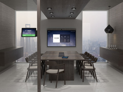 zoom rooms neatboard interactive digital whiteboarding with video soundbar built-in in a modern office with neatpad zoom rooms controller and scheduling display in a modern boardroom meeting