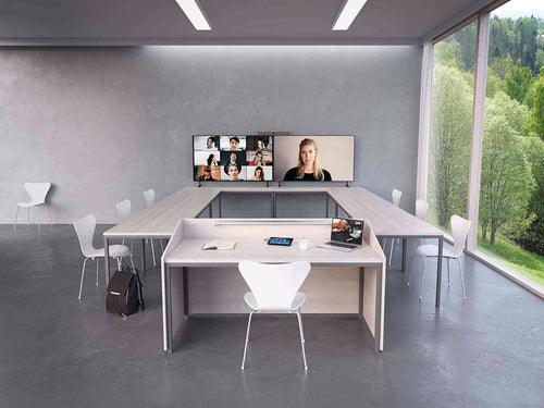 neat bar video soundbar, neatpad being bused as a room controller, dual tv display, zoom room controller in a modern video conference meeting room, dual TV display with multiple participants, in a U shape format in a modern office