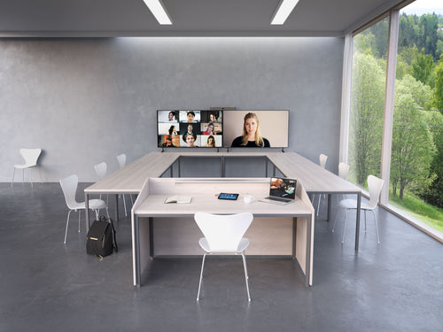 neat bar video soundbar, neatpad being bused as a room controller, dual tv display, zoom room controller in a modern video conference meeting room