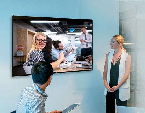 DTEN all in one digital whiteboarding, display, video conference camera, microphone and speaker solution in modern office
