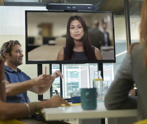 video conference meeting with tv display, video soundbar in a modern office