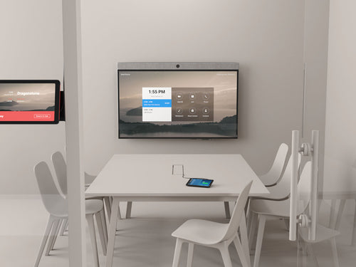 zoom rooms neatboard interactive digital whiteboarding with video soundbar built-in in a modern office with neatpad zoom rooms controller and scheduling display in a modern conference room