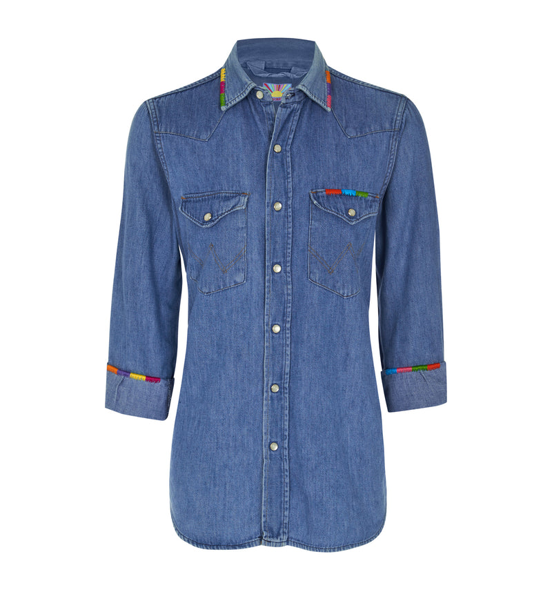 Splash of Colour- Oversized Denim Shirt