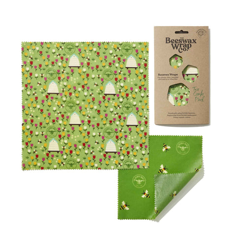 Beeswax Wrap Co. - Two Reusable Food Wraps - Variety Pack (Meadow)