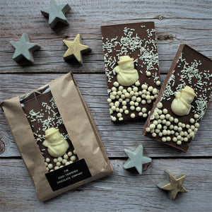 Milk Chocolate Slab with White Chocolate Snowman and Biscuit Pearls