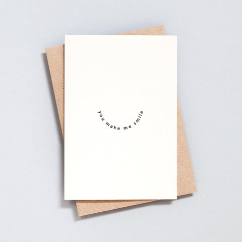 Ola Hand Printed Greetings Card - You Make Me Smile