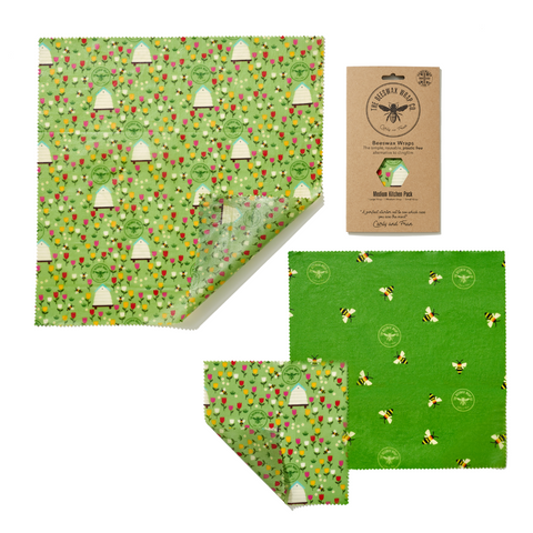 Beeswax Wrap Co. - Three Reusable Food Wraps - Variety Pack (Land Print)