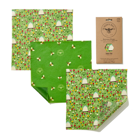 Beeswax Wrap Co. - Three Reusable Food Wraps - Three Medium (Land Print)