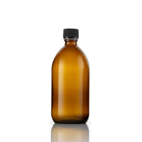 Amber Glass Bottle with Cap Top (500ml)
