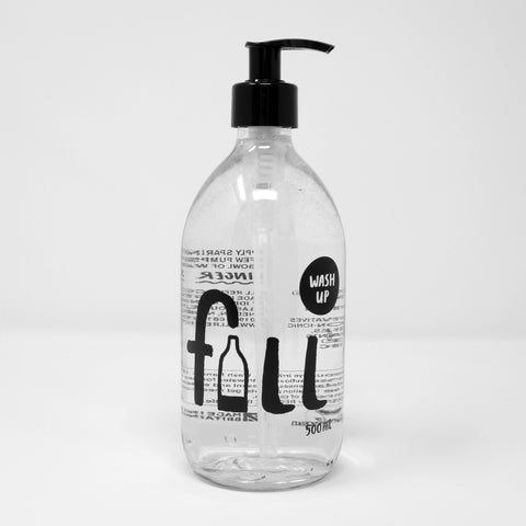 Clear Glass Bottle with Pump Top - Washing Up Liquid (500ml)