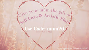 Love heart with mothers day promotion inside. 20% off beauty and skin care. Free shipping over $50