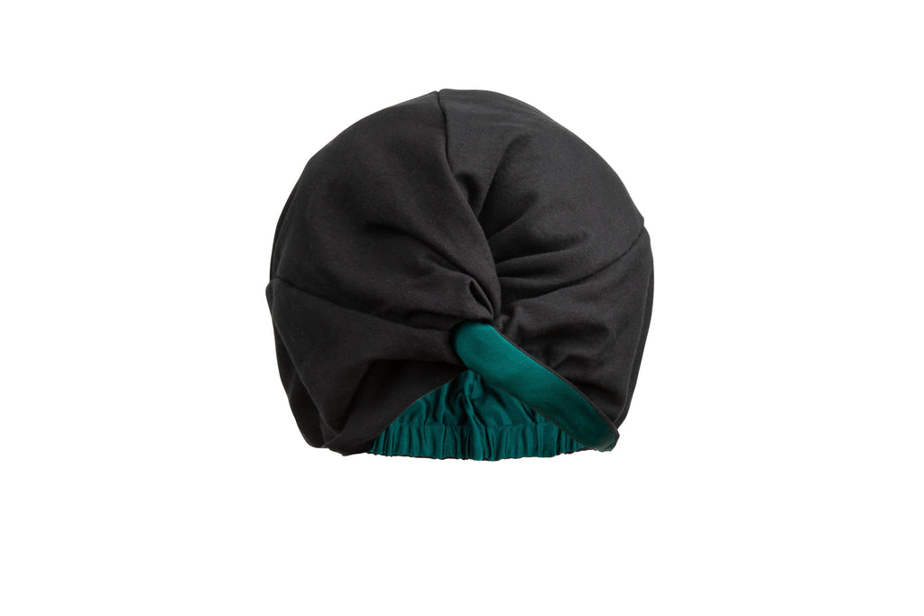 Damn Gina Silk hair turban black green forrest