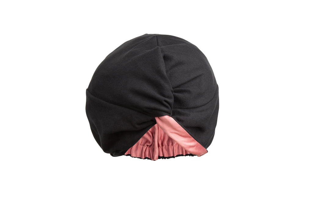 Damn Gina Silk hair turban black english rose
