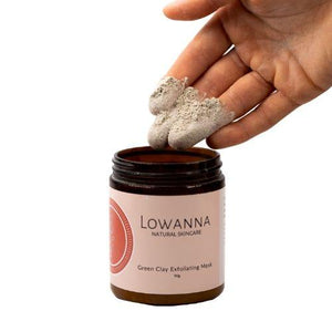 Lowanna natural skincare green clay exfoliating mask in use