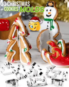 3D Christmas Cookies Mold (Set of 3) Kitchen DazzyCandy