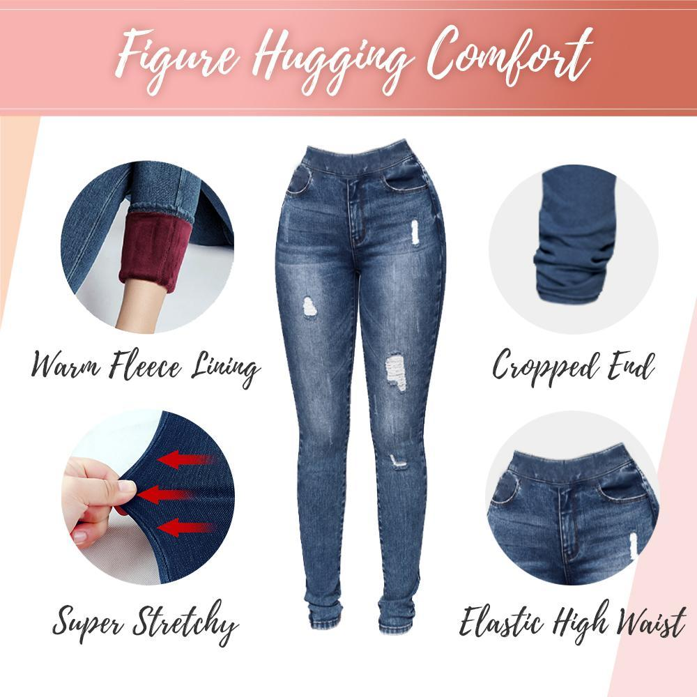 Slim-Fit Denim Fleece Jeggings Beauty starryhome