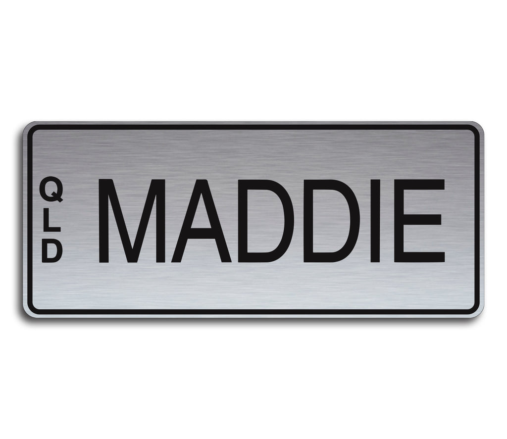 Brushed Silver & Black Writing Custom Novelty Number Plate