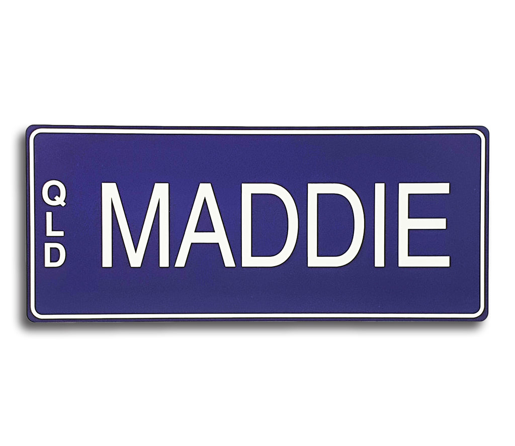 Purple & White Writing Custom Novelty Number Plate
