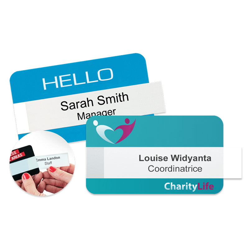 Reusable Windowed Name Badges with Logo Print - 50 Pack