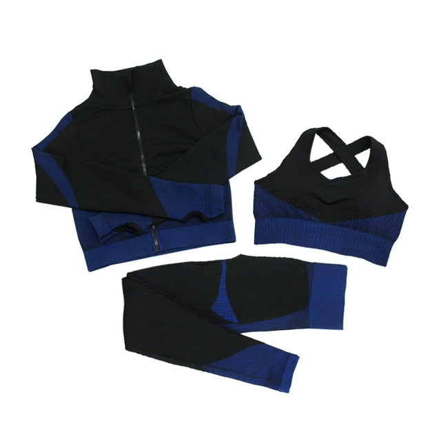 Fitness Suits Yoga Women Outfits 3pcs Sets Long Sleeve Shirt+Sport Bra+Seamless Leggings