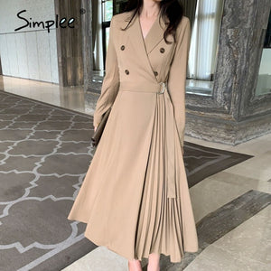 Casual suit collar Women Dress