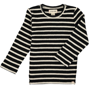 Black and white stripe knit shirt