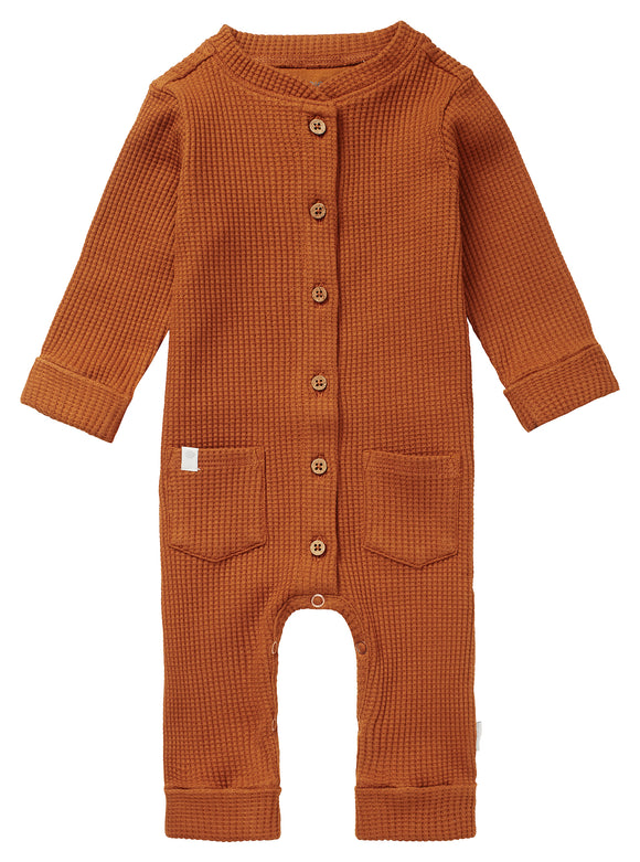 Waffle Knit Playsuit- Roasted Pecan