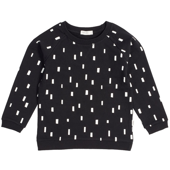 Knit sweatshirt -Black with white bricks