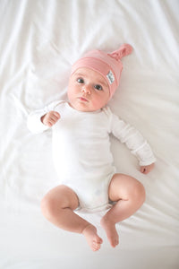 Baby Pink Jersey Knit Top Knot Hat