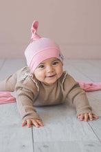 Load image into Gallery viewer, Baby Pink Jersey Knit Top Knot Hat