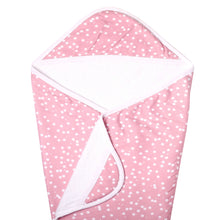 Load image into Gallery viewer, Pink Polka Dot Knit Hooded Towel