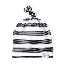 Load image into Gallery viewer, Thin Striped Jersey Knit Top Knot Hat