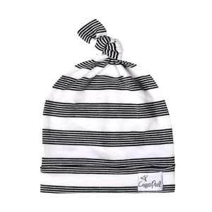 Thin Striped Jersey Knit Top Knot Hat