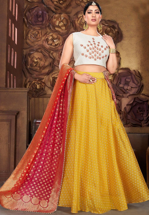 Woven Chanderi Silk Lehenga in Yellow