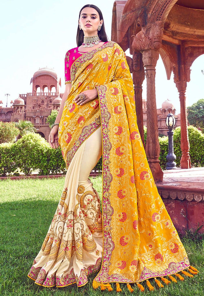 Half N Half Art Silk Saree in Mustard and Cream