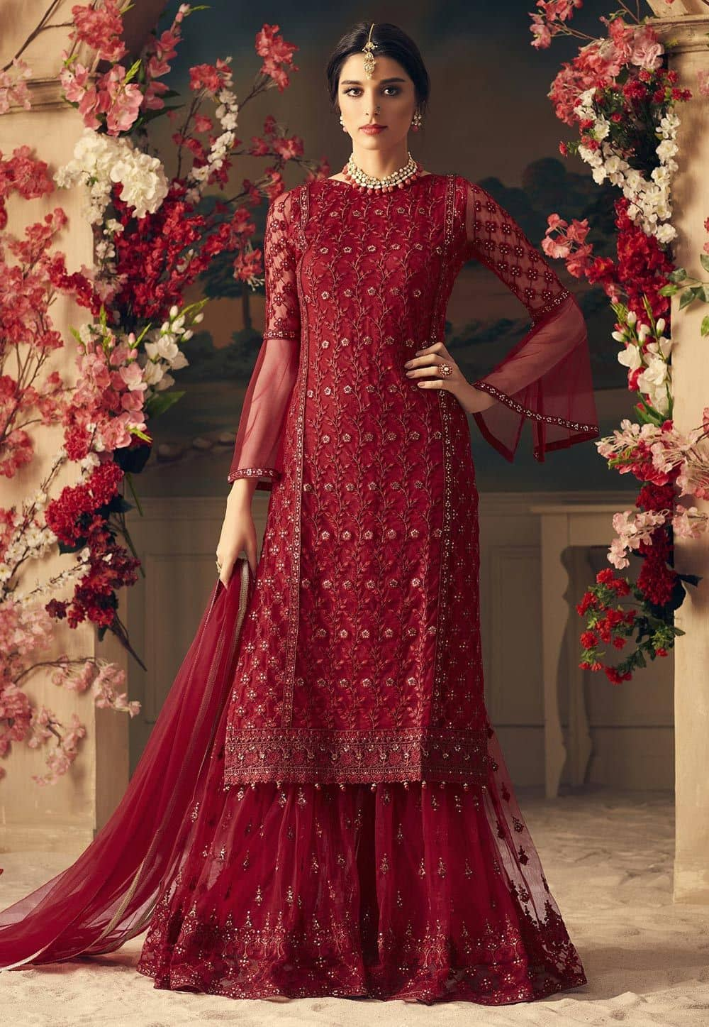 Embroidered Net Pakistani Suit in Maroon